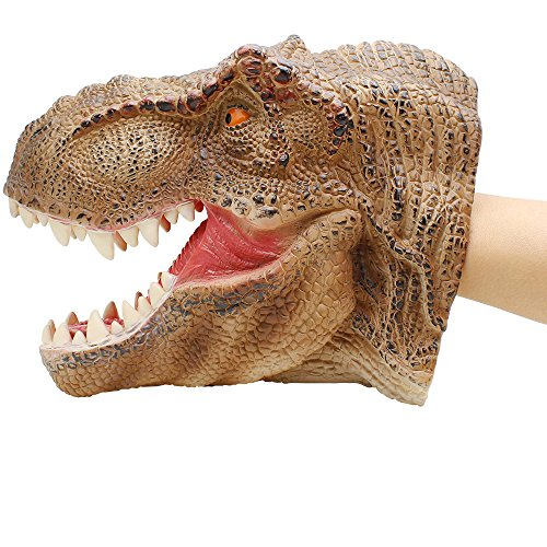 Lebze Dinosaur Hand Puppet for Kids, Large Soft Dino Hand Puppets Rubber Realistic Tyrannosaurus Rex Head by Lebze