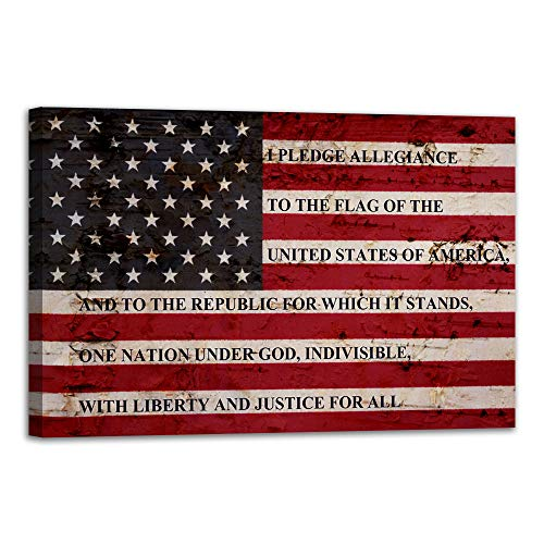 VIIVEI USA American Flag Sign Canvas Print Wall Art Decor US Pledge of Allegiance Artwork Home Picture for Bedroom Living Room Thin Red Line Painting Poster Framed Ready to Hang (24
