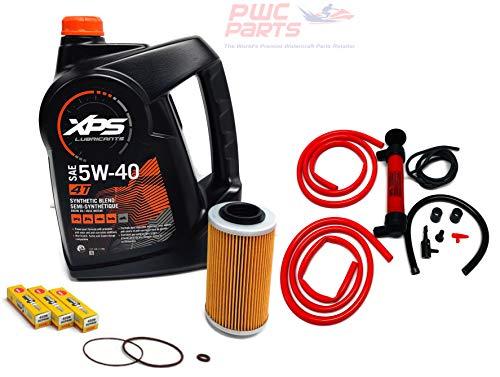 SeaDoo 4-TEC Oil Change Kit ALL 2002+ 4-TEC 130/155/185/215/255/260hp GTX RXT RXP RXP-X RXT-X GTI w/ 1 Gallon XPS 05W30 Oil, 4-TEC Oil Filter, O-Ring Kit, NGK Spark Plug Set, Deluxe Oil Extractor Pump