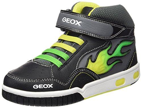 Geox Jr Gregg a, Zapatillas Altas Para Niños Negro (BLACK/LIMEC0802)