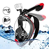 MOVTOTOP Snorkel Mask, Foldable Full Face Snorkeling Mask Anti-Fog Anti-Leak Panoramic 180°View Snorkel Set for Adults or Kids, Dry...