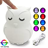 Night Light for Kids, Silicone LED Decorative Nursery Rechargeable Romantic Portable Owl Stand White Nightlight for Girls, Wireless Automatic Color Changing Soft Touch Safe Material Baby Besides Lamp
