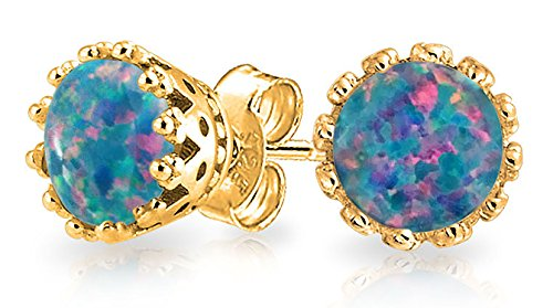 Black Created Opal Crown Setting Solitaire Stud Earrings 14K Gold Plated 925 Sterling Silver 6mm October Birthstone