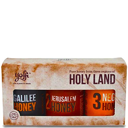 Yoffi Holy Land Beautiful Set of Pure Raw Aromatic Wildflower Honey Jars, Gift Set (3 x 4.4oz) (Israel Food)