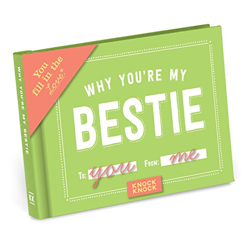Knock Knock Why You're My Bestie Fill in the Love Book Fill-in-the-Blank Gift - Heart Box Keepsake Trinket