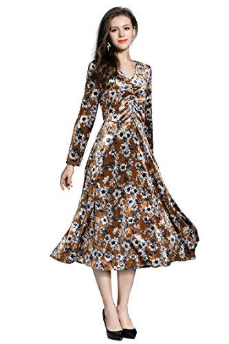 Blumendruck Damen Midi Ausschnitt Elegante Abendkleider Brautjungfer Langarm Hochzeit V Ballkleider Samt Ababalaya wC4YTqn4