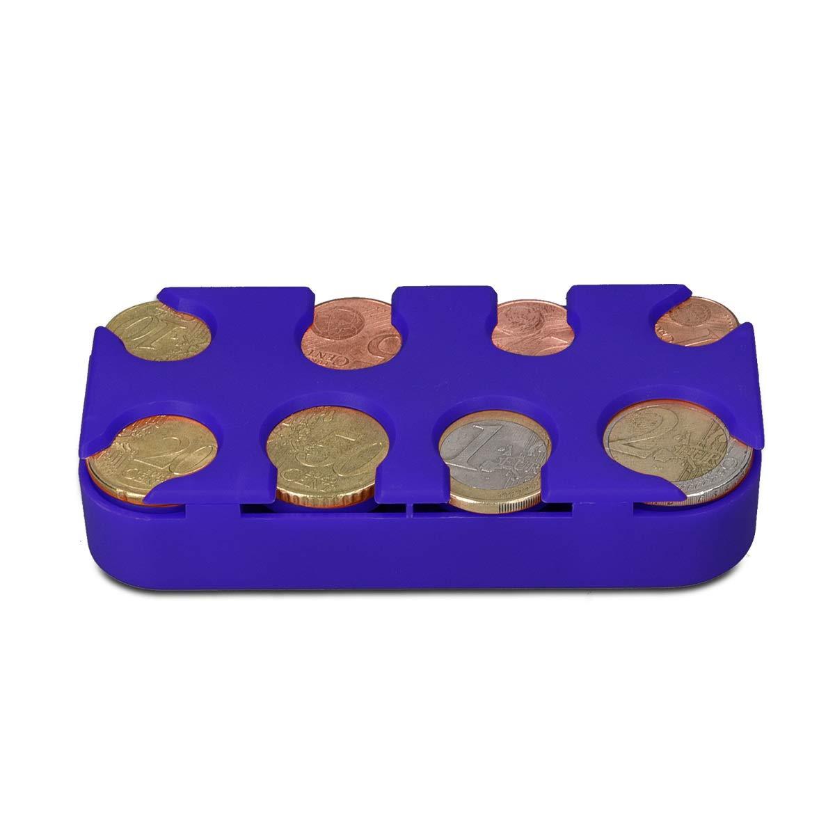 Box Organizer Porta Monete a Molla blu Slot x8 Monete da 1 Centesimo a 2 Euro kwmobile Scatola Portamonete 8 Scomparti
