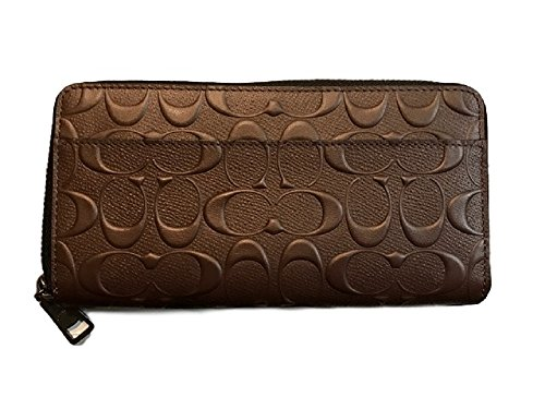Coach Mens Embossed Signature logo Durable Leather Long Wallet (Mahogany)