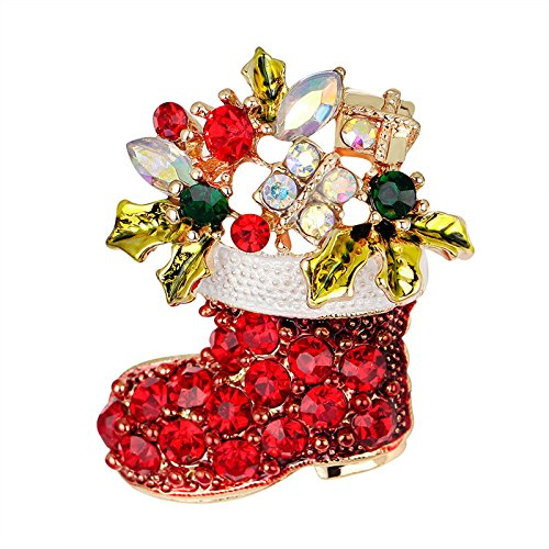Ioffersuper 1X Gold Rhinestone Crystal Christmas Stocking Boot Pin Brooch Xmas Gift (Rhinestone Christmas Stocking)