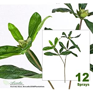 "Twelve 27"" Rhododendron Artificial Sprays Bendable Stems 60"