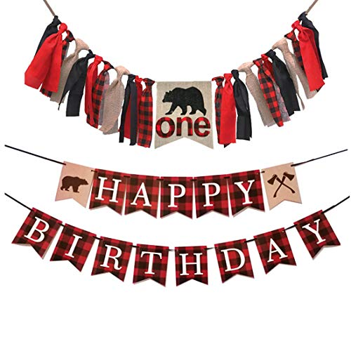 Birthday Boy Bear - MaxFor Lumberjack First Birthday Party Supplies Decorations,Buffalo Plaid Camping Wild Bear 1st Birthday Party High Chair Banner,Baby Boy Photo Photo Booth Props