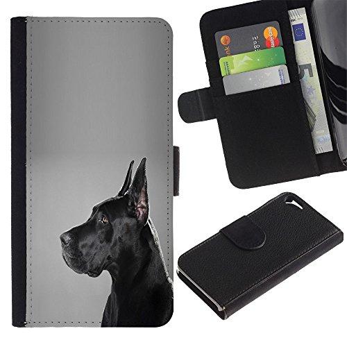LASTONE PHONE CASE / Luxe Cuir Portefeuille Housse Fente pour Carte Coque Flip Étui de Protection pour Apple Iphone 5 / 5S / German Mastiff Black Dog Shorthair