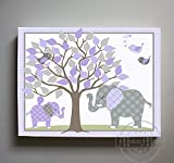 MuralMax - Whimsical Polka Dots Elephant & Lovebird Theme - The Canvas Tree of Life Nursery Collection - Size - 24 x 30