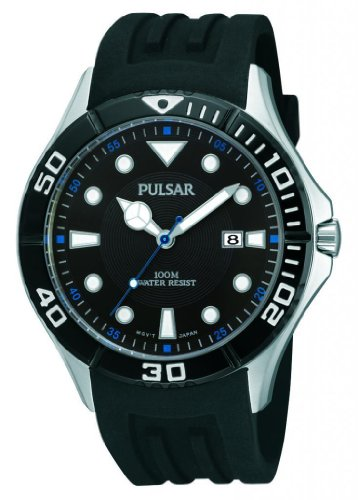 Pulsar Rubber Watch - Pulsar PH9025X All Black Dial & Sports Strap Dive Men's Watch