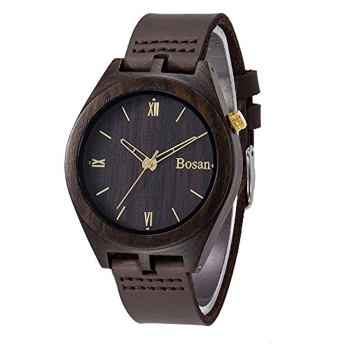 Wood Watch,Bosan Classic Black Sandalwood Analog Wooden Wrist Watch for Boy with Genuine Leather Band Gold Hands