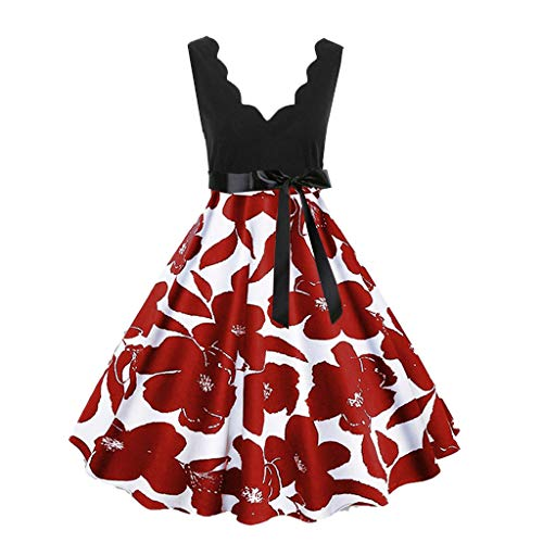 Red Handheld Flare (Lotus.Flower Women Casual Sleeveless Printed Vintage Flare Maxi Party Beach Dress (3XL, Red))