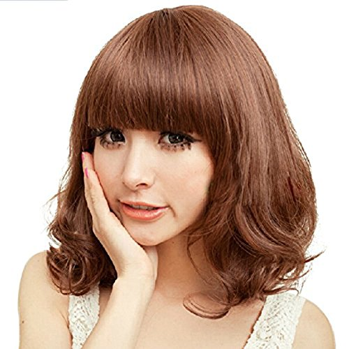 [Girl's Short Curly Wavy Synthetic Hair Full Bang Wig/Wigs+Wig Cap (Dark Brown)] (Rikku Cosplay Costume For Sale)