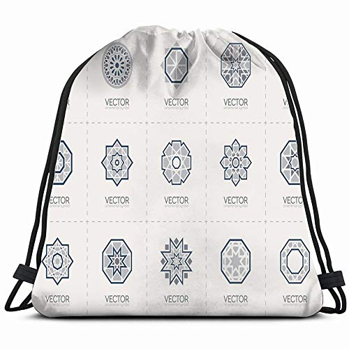 Geometric Template Set Circular Abstract Arab Signs Symbols Drawstring Backpack Gym Sack Lightweight Bag Water Resistant Gym Backpack For Women&Men For Sports,Travelling,Hiking,Camping,Shopping Yoga