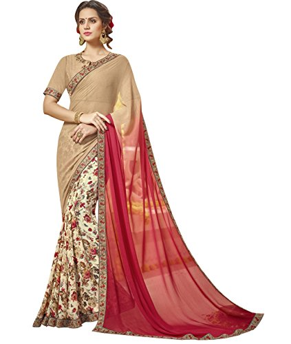 Indian Ethnicwear Faux Georgette Multicolour Coloured Floral Print Saree by Maahir Garments