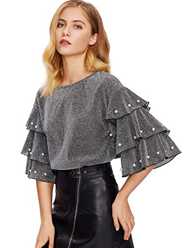 DIDK Women's Round Neck Pearl Beading Layered Sleeve Glitter Blouse Top Grey S