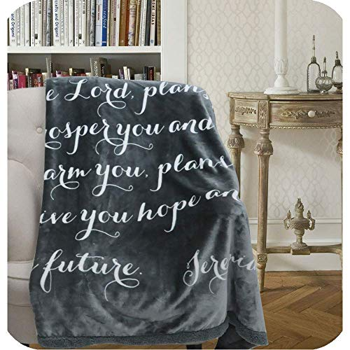 Luxuriously Soft Scripture Throw Blanket | Jeremiah 29:11 | 50x60 inches (Dark Gray with Ivory Scripture) (Bible Verse To Comfort Loss Of A Child)