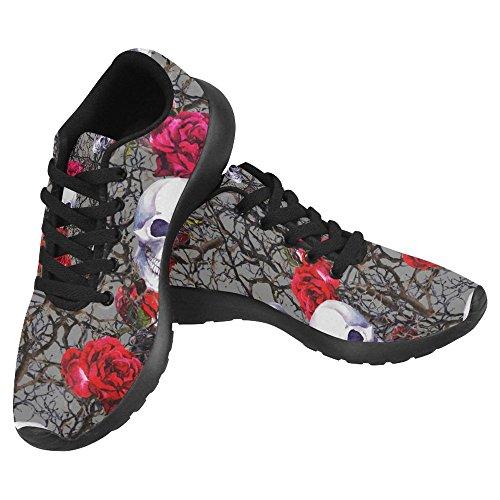 Interestprint Kvinna Jogging Kör Sneaker Lättvikts Gå Gång Casual Komfort Sports Löparskor Skallar, Röd Ros Blommor Och Grenar Multi 1