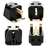Orei P21-7-4PK 2 in 1 USA to UK Adapter Plug Type G-4-Pack  (Black)