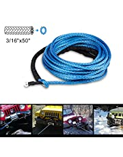 Winch Rope 3/16''x50' Synthetic Winch Cable Blue Winch Rope 7000LBs with Sheath for atvs Winches ATV UTV SUV Truck Boat Ramsey Nylon Winch Rope Extension