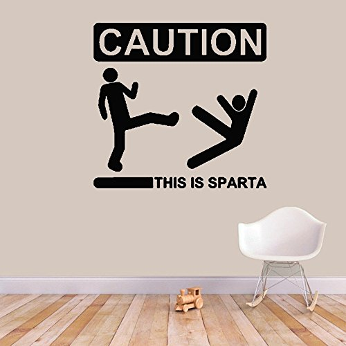 (aostral Removable Vinyl Wall Stickers Mural Decal Art Home Decor Caution This is Sparta Sign)