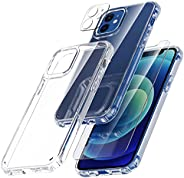 TOCOL 3 in 1 Compatible with iPhone 12 Case 6.1 inch - with 2 Pack Tempered Glass Screen Protector + 2 Pack Ca
