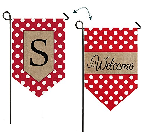 "Evergreen Polka Dot Welcome Monogram ""S"" Double-Sided Burlap"