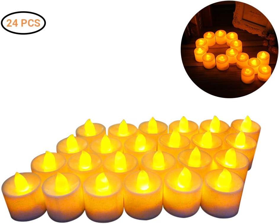 vela falsa el/éctrica para votiva boda barsku Luces de t/é LED de bater/ía blanca c/álida juego de 24 velas de candelita parpadeantes sin llama fiesta regalo mesa comedor