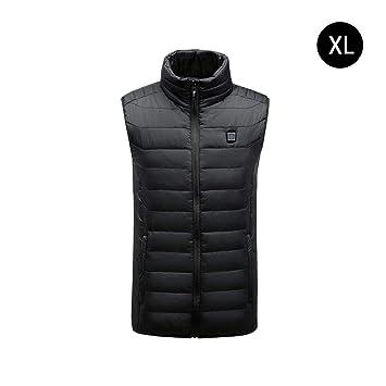 LeKing--Caliente la Chaqueta del Chaleco de algodón, el Chaleco de los Hombres de calefacción Inteligentes USB: Amazon.es: Deportes y aire libre