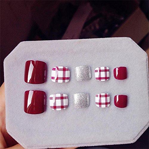 False Toenails for Women Artificial Toe Nails Full Cover Tips Finished Feet Patch 24pcs/set