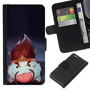 YiPhone /// Tirón de la caja Cartera de cuero con ranuras para tarjetas - Blanco mullido Criatura - Apple Iphone 5C