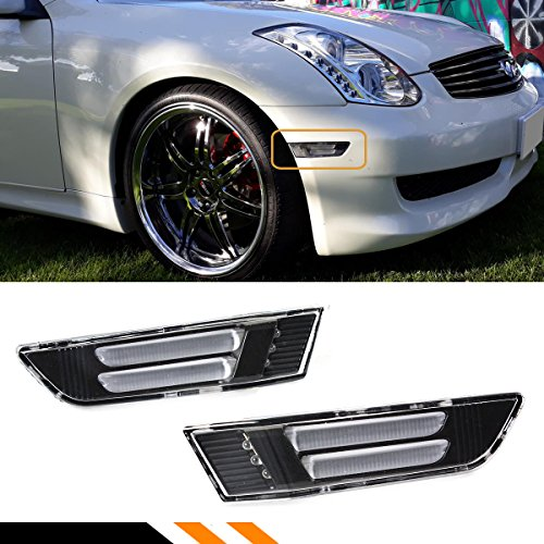 - Fits for 2003-2007 Infiniti G35 2 Door Coupe Clear Lens Black LED Tube Stripe Front Bumper Side Marker Lamps Light