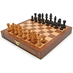 Trademark Games Inlaid Walnut-Style Magnetized Wood Chess Set with Staunton Wood Chessmen