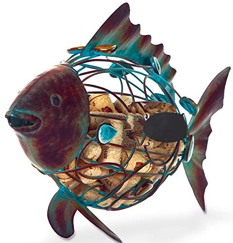 Rustic Metal Fish Cork Collector