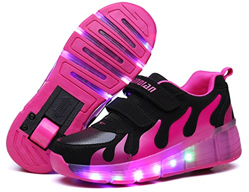 Mr.Ang con luces LED coloridos parpadeante neutra ruedas de patines de rueda patín zapatos Zapatos del patín zapatos deportivos niños y niñas de calzado deportivo zapatos de skate rosa negro