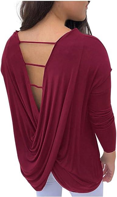 Camiseta básica de manga larga para mujer, sexy, con espalda ...