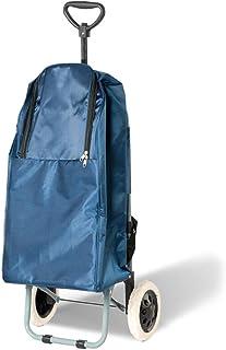 Yuan Chariots de courses Navy bleu chariot à bagages levier voiture chariot à main Shopping panier épicerie petit chariot à remorque pliable chariot portable /@ (Couleur : Bleu)
