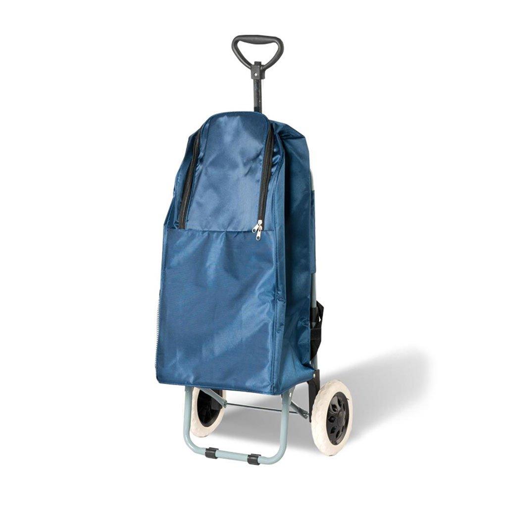 DS-ハンドカート ネイビーブルーの荷物カートレバー車のハンドトラックショッピングカート食料品の買い物小トレーラーフォールドポータブルトロリー && (色 : 青) B07KG2NNMN 青