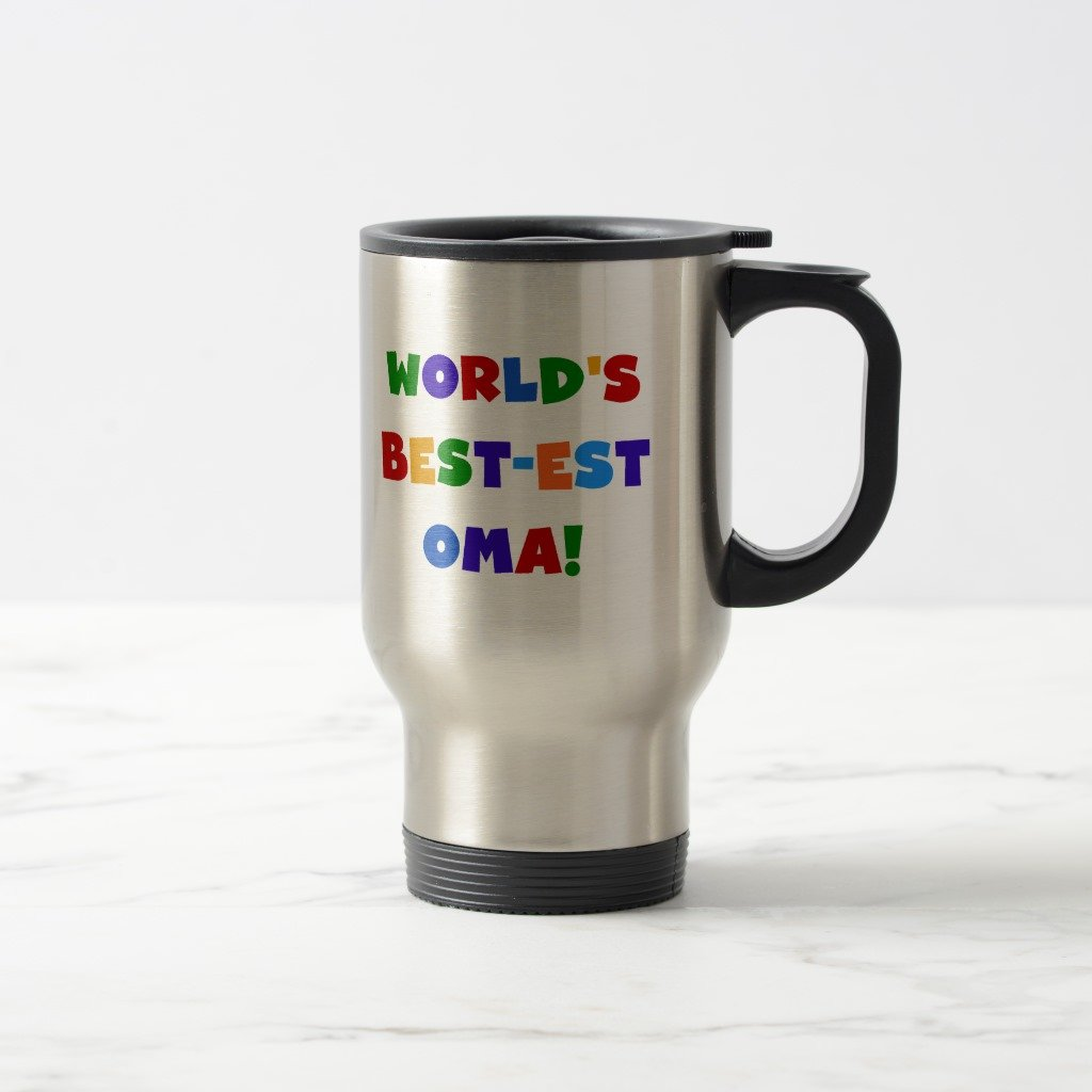 Zazzle World's Best-est Oma Bright Colors Gifts Two-tone Coffee Mug, Stainless Steel Travel/Commuter Mug 15 oz