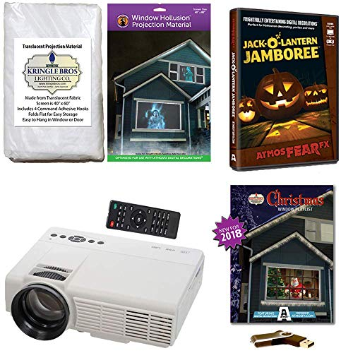 AtmosFearFx Christmas and Halloween Digital Decoration Kit Includes 1200 Lumen Projector, Hollusion (W) + Kringle Bros Rear Projection Screens, Christmas Compilation (USB) & Jack-O-Lantern -