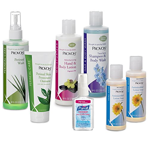 PROVON in-Home Caregiver Kit - Contains Purell Hand Sanitizer, Soap, Shampoo, Body Wash and Lotion