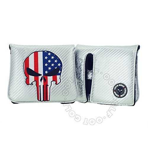 19th Hole Custom Shop US Flag Punisher Skull Golf High-MOI Mallet Putter Head Cover, Right Heand, Silver
