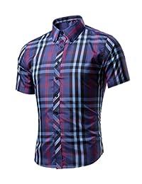 WSLCN Men's Button Down Shirt Checkered Summer Casual Shirt Short Sleeves Slim Fit