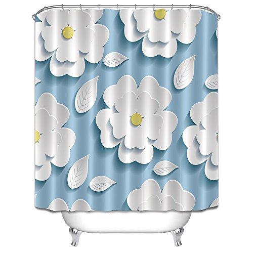 LB Refreshing White Flower Pattern Clip Art Bath Curtain by, Floral Background Fabric Curtain, 70x70 Bathroom Curtain Waterproof Mildew (Vintage Postcard Clipart)