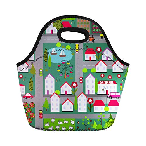 (Semtomn Neoprene Lunch Tote Bag Landscape City and Village Houses Lake Trees Gardens Cars Horses Reusable Cooler Bags Insulated Thermal Picnic Handbag for Travel,School,Outdoors,)