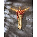 He is Risen 24 Inch Jesus Christ Hanging Wall Statue for Church Sanctuary